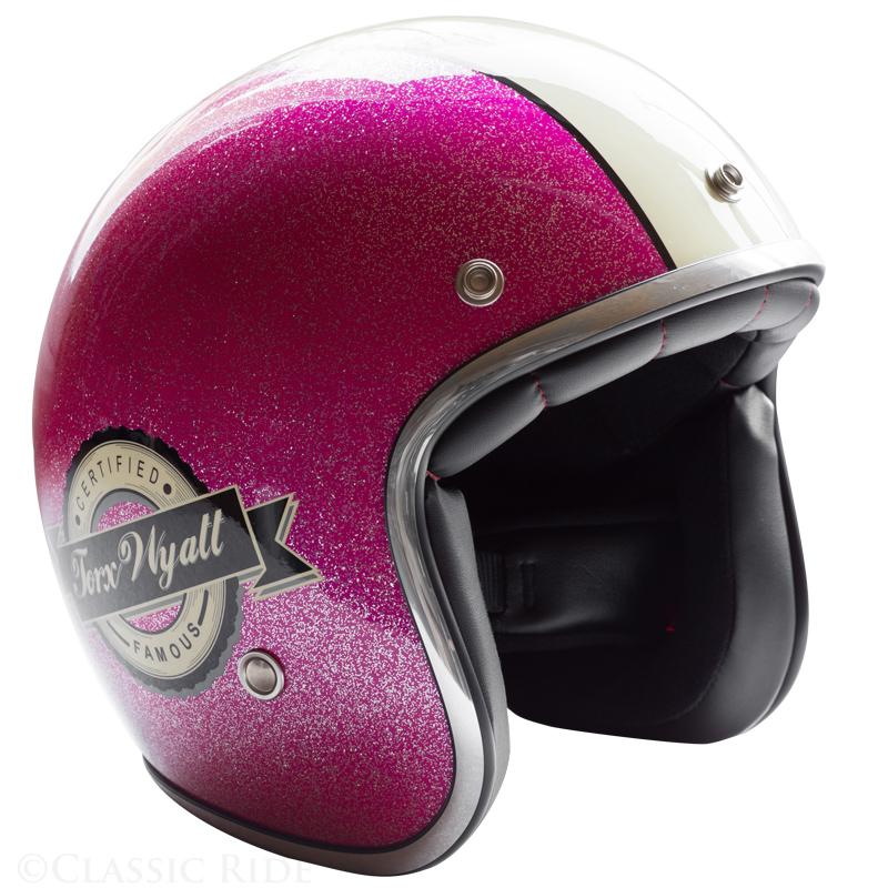 Casque Torx Wyatt Famous Glitter Pink Jet Moto Vintage Paillette Rose