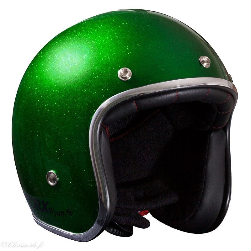 casque torx wyatt glitter green jet moto vintage paillette. Black Bedroom Furniture Sets. Home Design Ideas
