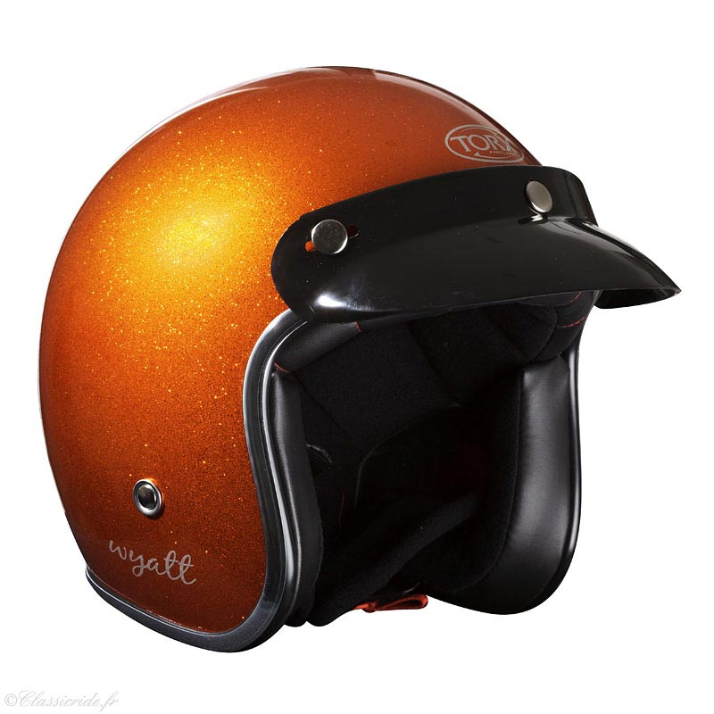 Casque Torx Wyatt Glitter Orange Jet Moto Vintage Paillette