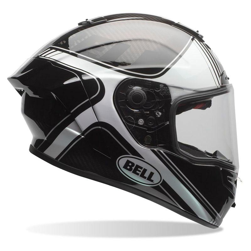casque bell race star tracer black white int gral moto carbone. Black Bedroom Furniture Sets. Home Design Ideas