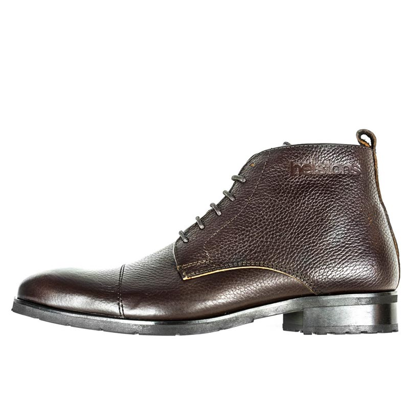 1439ddc9448 Chaussures Helstons Heritage cuir marron bottines moto vintage CE