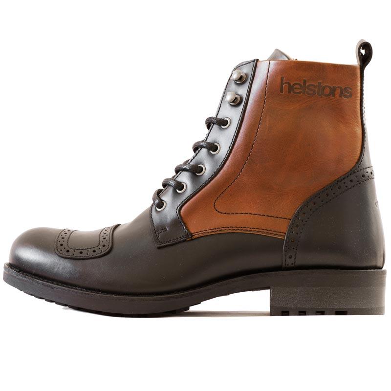 b0f7ed85ca7 Bottes Helstons Travel cuir noir et marron chaussures moto vintage
