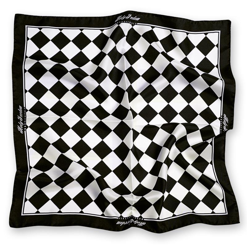 da97502cfdc5 Bandana biker carré de 70 cm, motif vintage à damier noir et blanc. REF    175HFBU