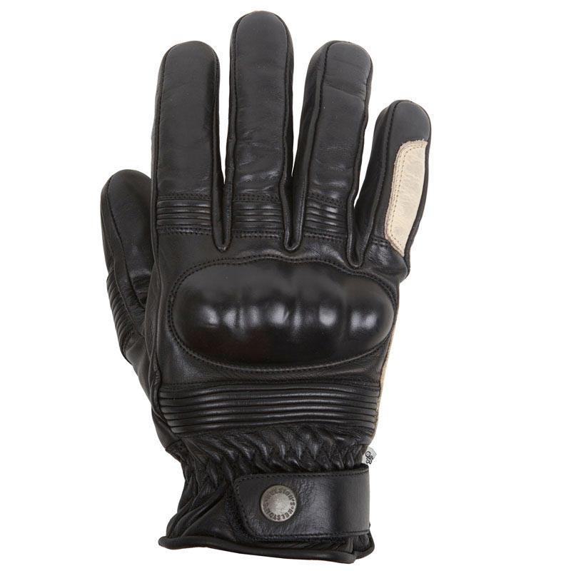 gants moto hiver helstons monza cuir noir beige vintage. Black Bedroom Furniture Sets. Home Design Ideas