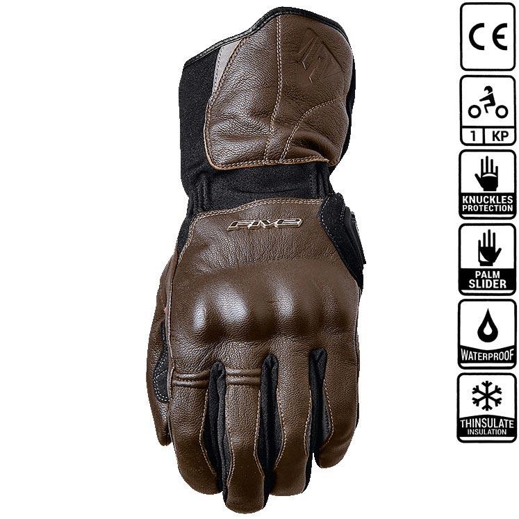 gant moto hiver five wfx skin wp brown homologu ce coqu. Black Bedroom Furniture Sets. Home Design Ideas
