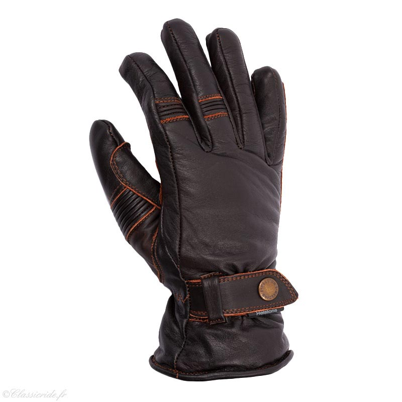 gants moto vintage helstons boston hiver cuir pull up marron. Black Bedroom Furniture Sets. Home Design Ideas