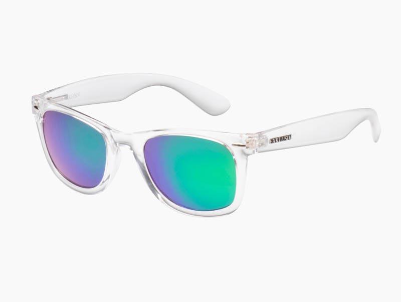 gamme complète de spécifications prix modéré sur les images de pieds de Lunettes Exklusiv Neon transparent, verres miroir vert, soleil