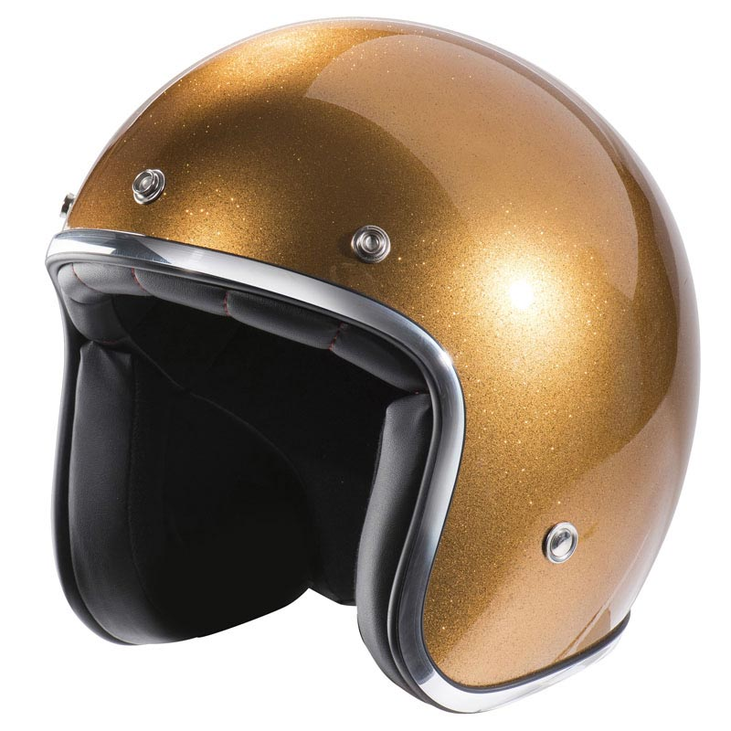 Casque Moto Vintage Nox N242 Or Pailleté Jet Scooter