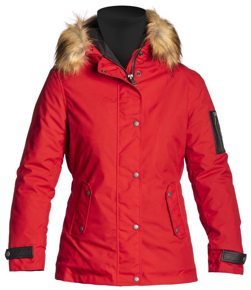 Veste femme Helstons Artic tissu rouge, doudoune moto, parka