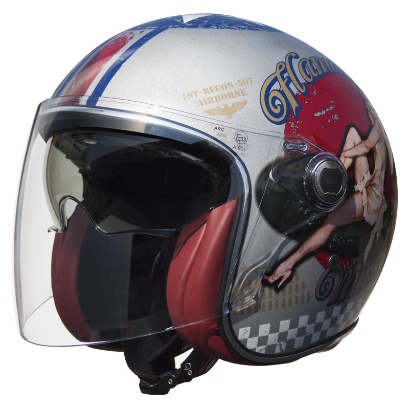 Casque Premier Vangarde Pin Up Old Style Silver Jet Moto Rétro