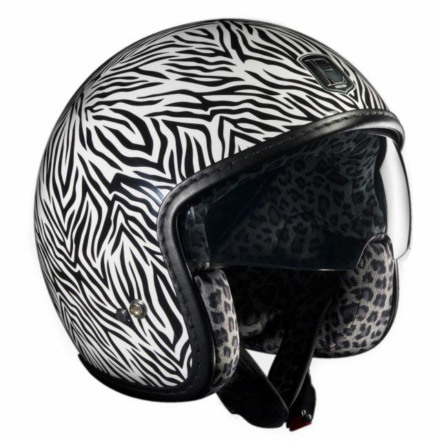 Casque moto zebre
