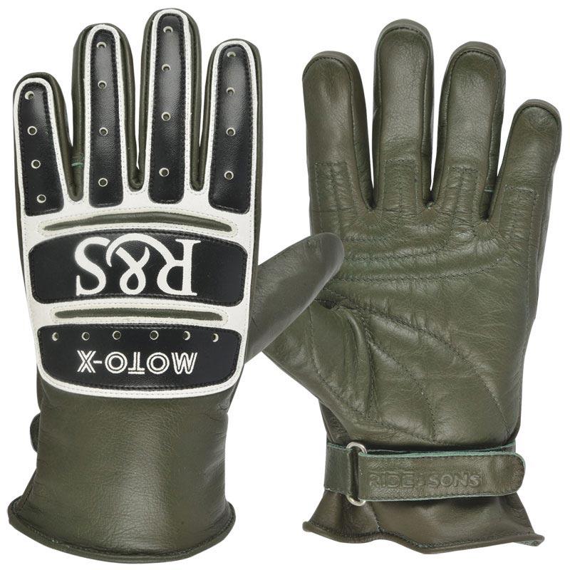gants ride and sons moto x green ce look moto cross vintage. Black Bedroom Furniture Sets. Home Design Ideas