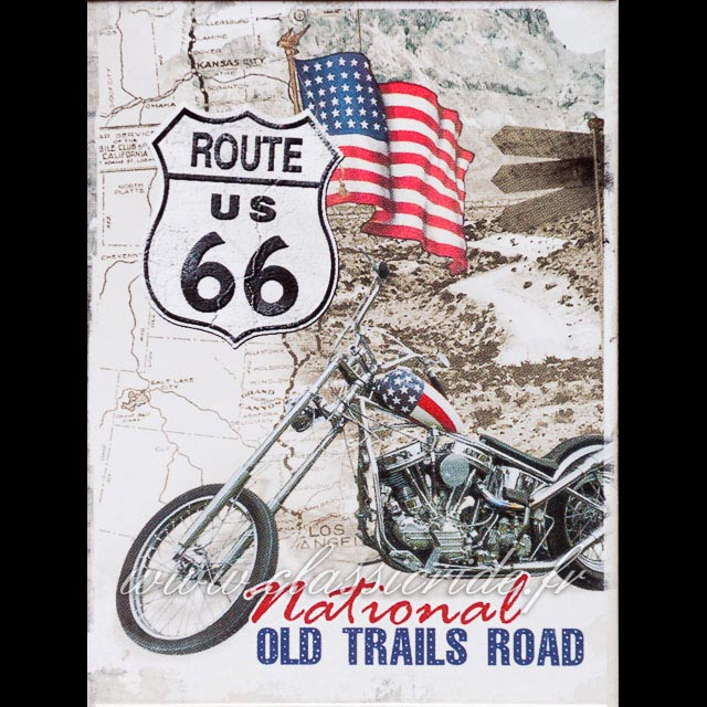 magnet 6x8 route 66 easy rider aimant moto custom usa. Black Bedroom Furniture Sets. Home Design Ideas