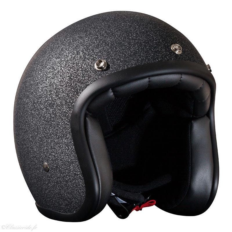 stormer pearl paillette noir mat casque moto jet vintage biker. Black Bedroom Furniture Sets. Home Design Ideas