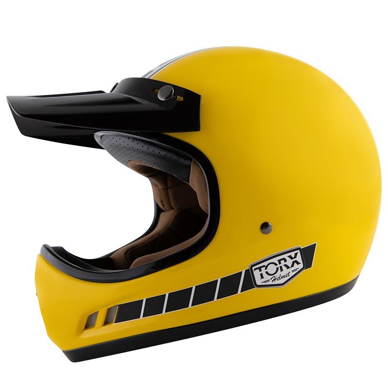 Casque Torx Brad Legend Racer Yellow Shiny Casque Cross Vintage
