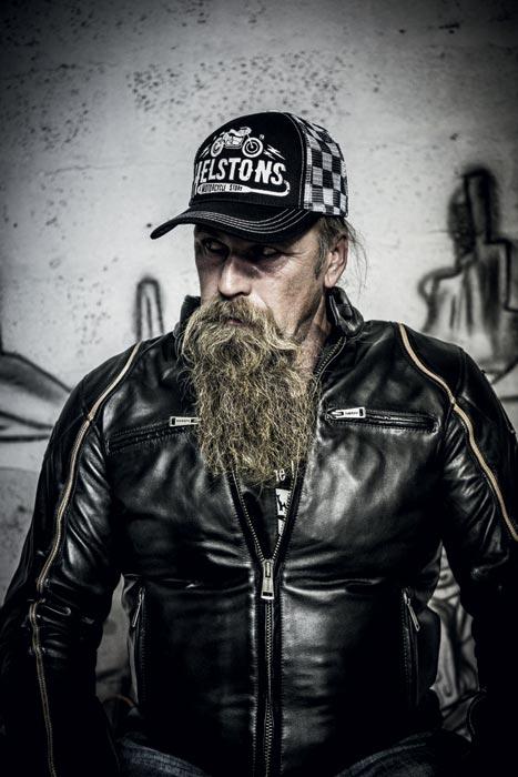 blouson biker homme en cuir noir moto custom harley motard helstons