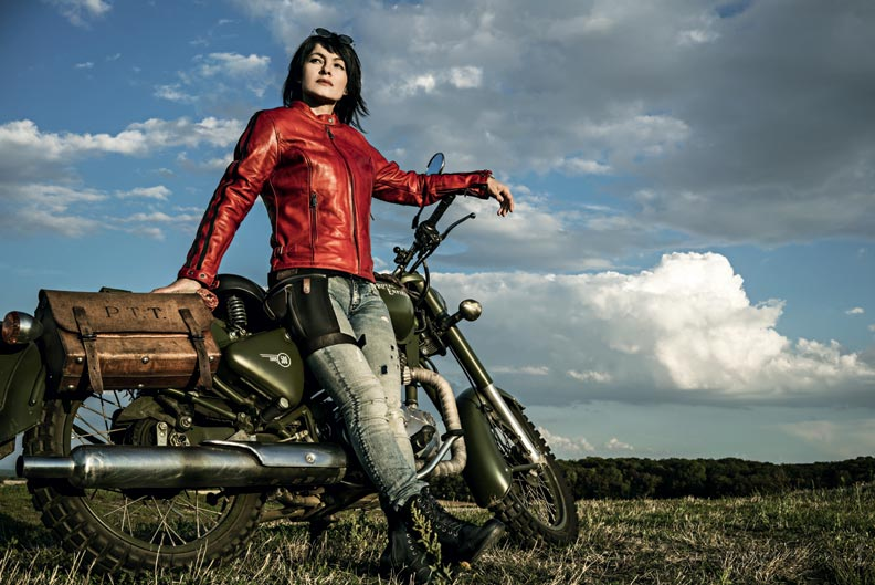 blouson helstons femme cuir rouge moto vintage