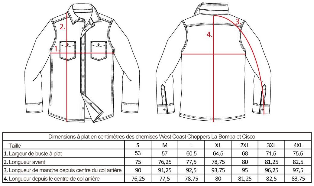 guide des tailles chemises west coast choppers la bomba cisco mesures