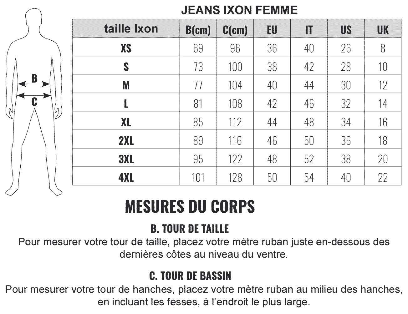 Guide des tailles jeans Ixon femme, pantalon