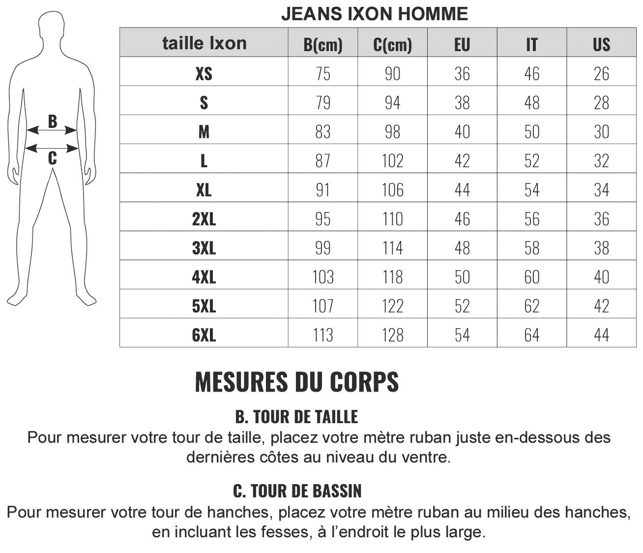 Guide des tailles jeans Ixon homme, pantalon