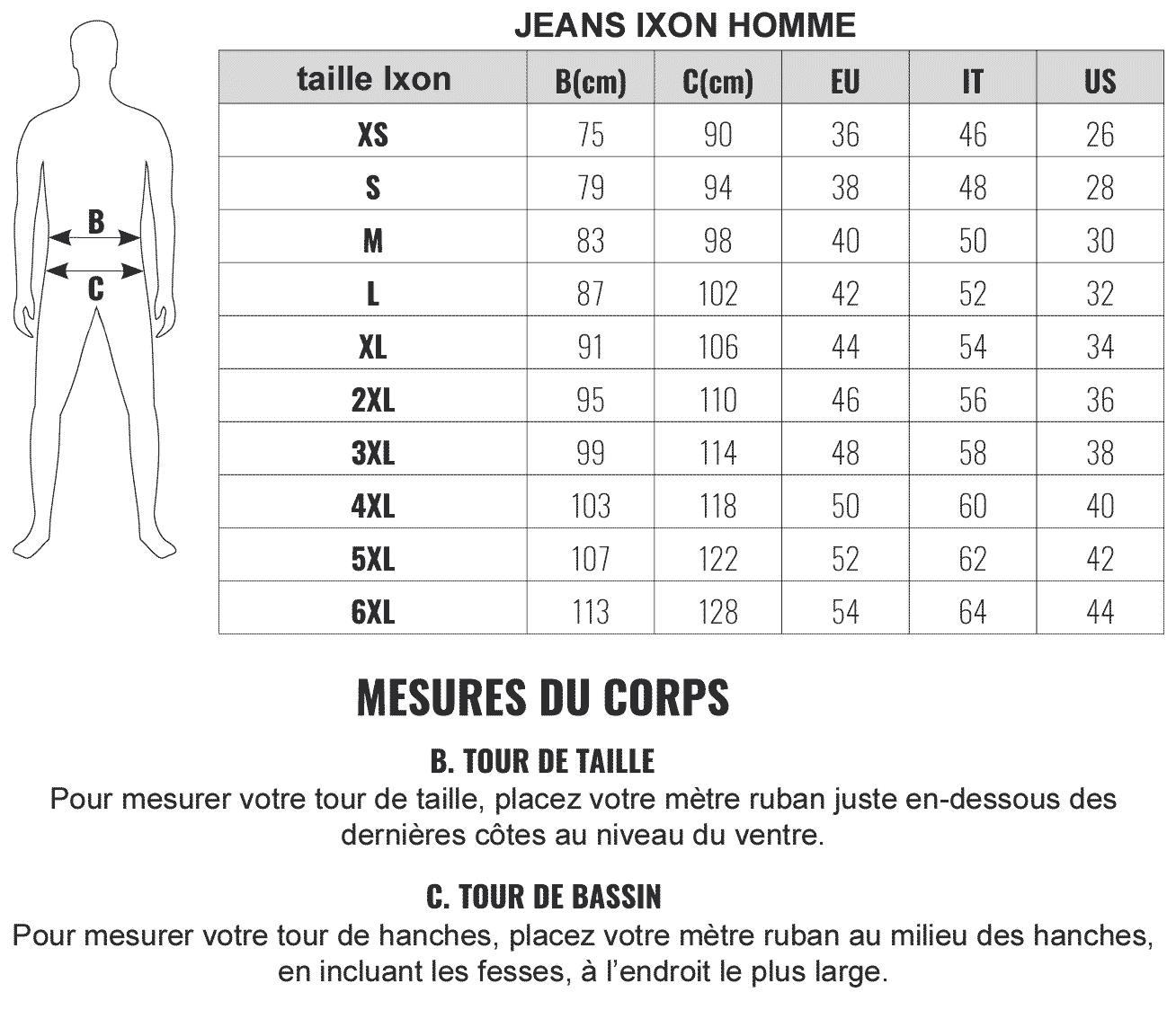 guides tailles pantalon