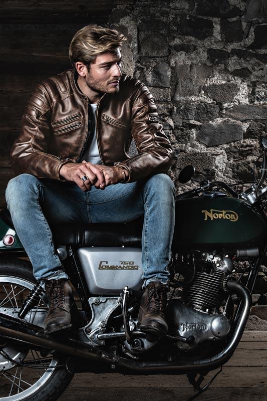 segura blouson cuir vintage homme moto norton commando retro