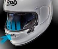 ventilation mentonniere casque arai profile v